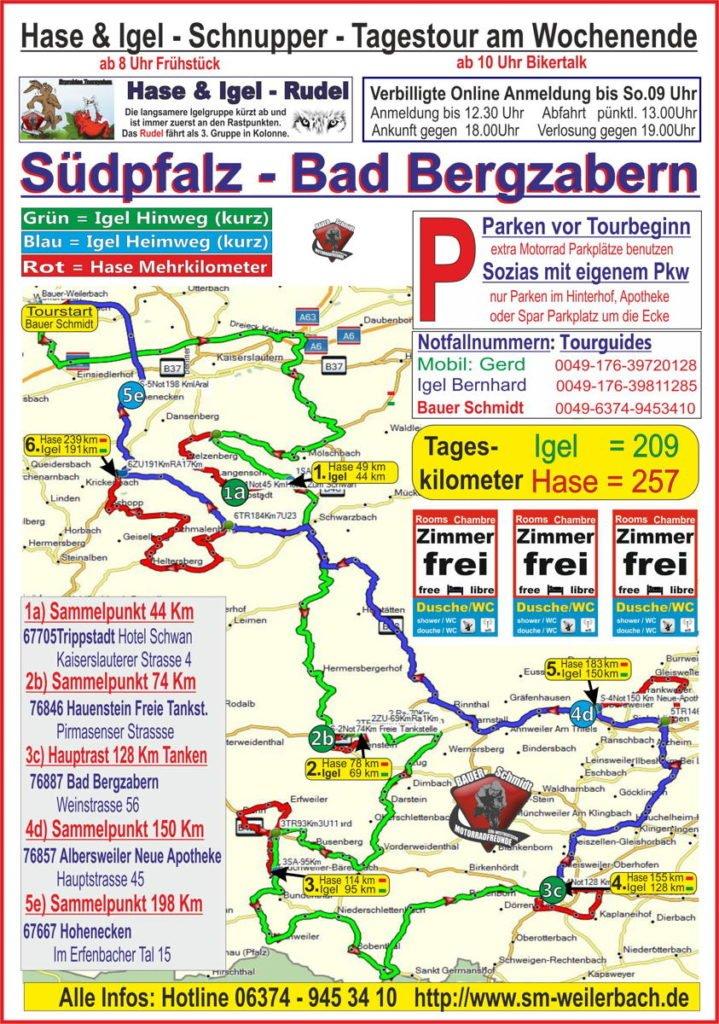 Tourkarte Südpfalz Bad Bergzabern