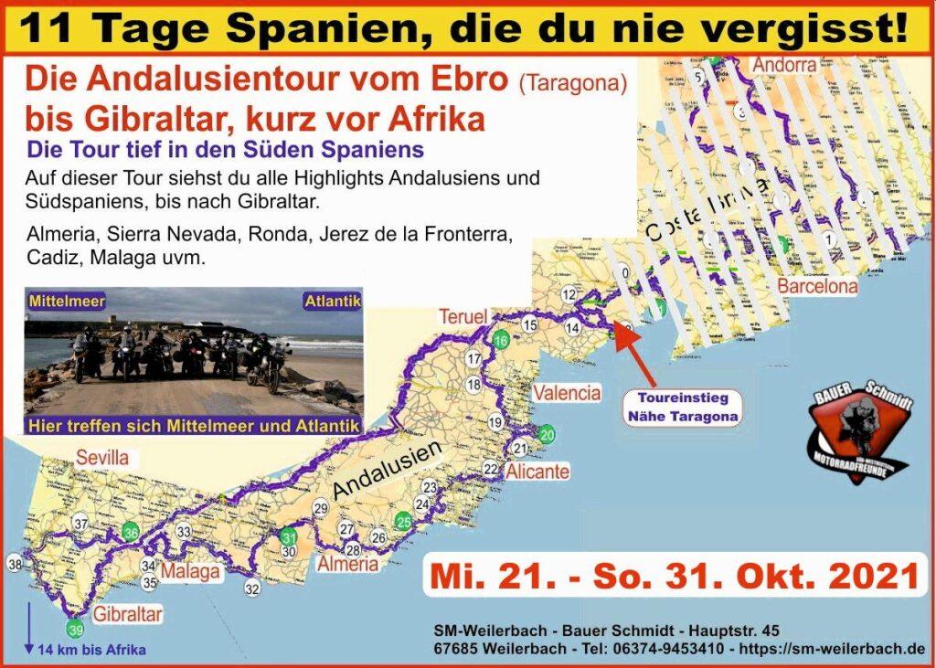 Tourkarte-Spanien-11 Tage