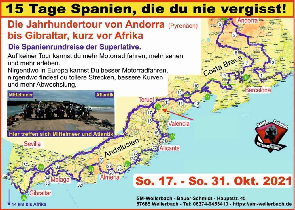 Tourkarte Spanien 2020
